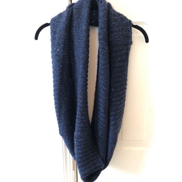 H&M Navy Blue Sparkle Knit Inifinity Scarf Winter